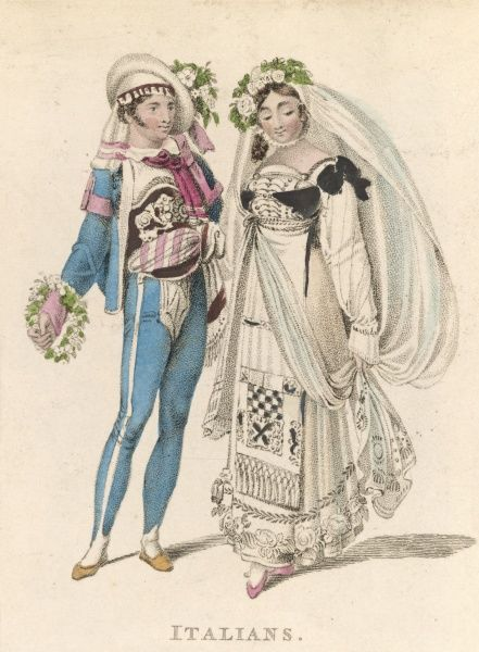 An Italian couple in their wedding costume