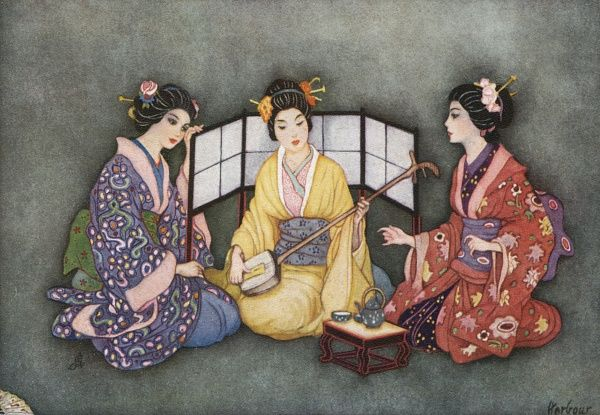 Three Japanese women on an afternoon call Date: early 20th century?