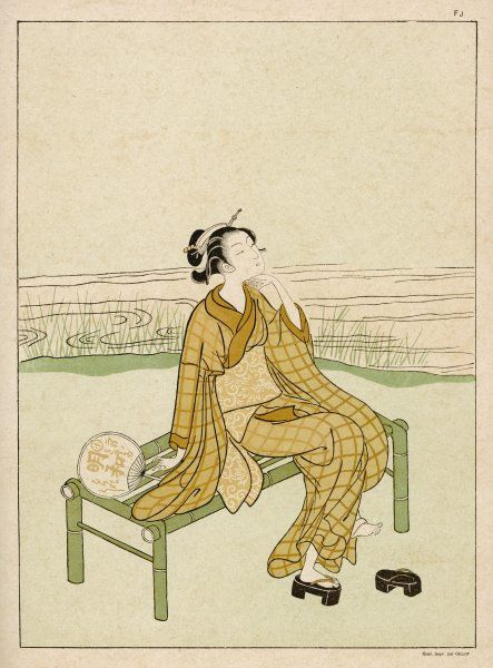 A young girl sits on a bench by a river, giving her feet a rest from those clumsy shoes