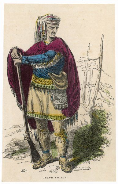 Metacomet: Sachem of the Wampanoags of New England, also know as King Philip who started King Philip's war, 1675-76