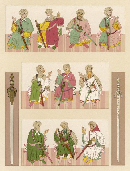 Various men, each one equipped with a sword
