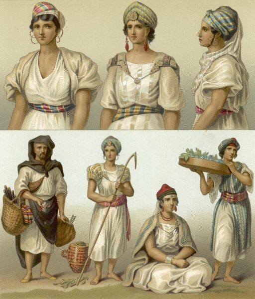 Various North African women of Tunisia and Morocco