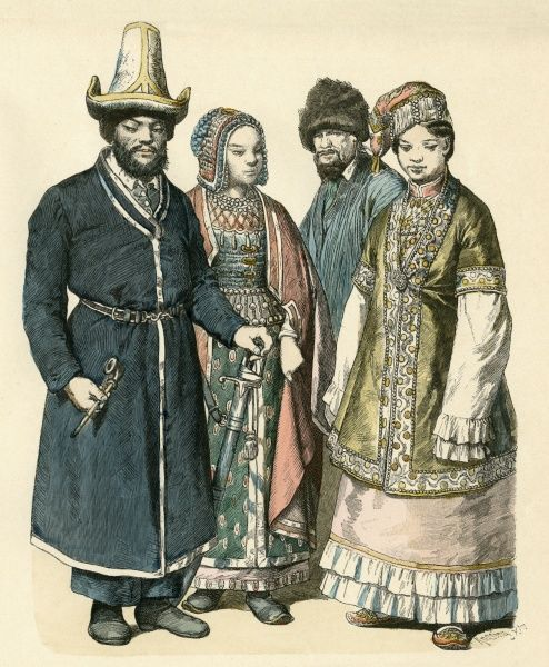 Four people from Bashkir, the Steppes and Kazan Date: 19th century
