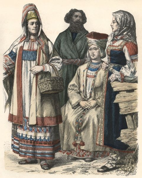 A group of country folk, from Riazan, Warsaw and St Petersburg; also a Finnish woman Date: 19th century