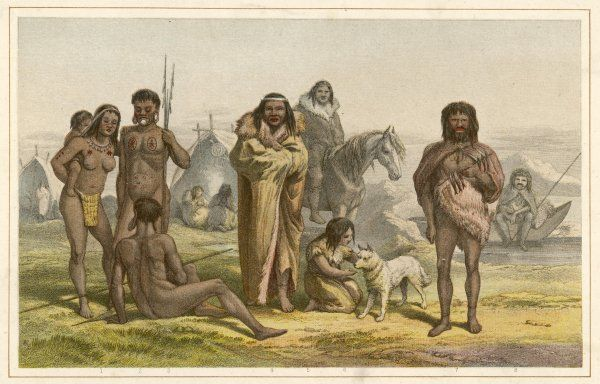 Various native people of South America: 1-3: Botocudos of Brazil 4-6: Patagonians 7-8: Natives of Tierra del Fuego Date: 19th century