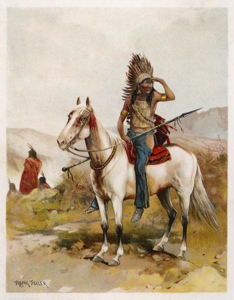 Sioux chief on his horse