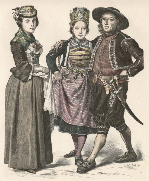 People from Zurich in traditional costume Date: 19th century