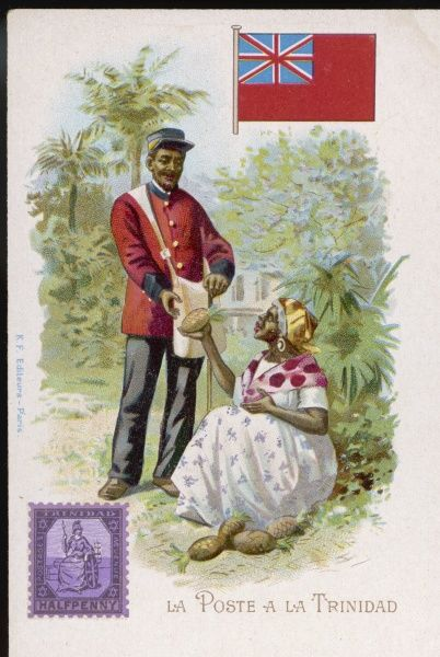 A postman in the (then) British colony of Trinidad receives a pineapple from a grateful customer