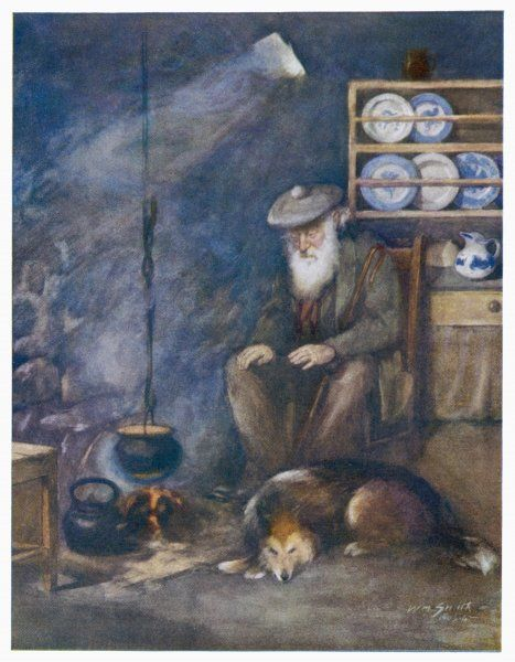 A Skye crofter in his croft with his dog