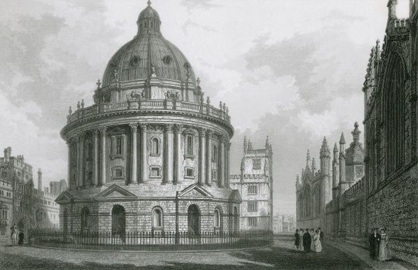 The Radcliffe Camera, Oxford, a part of the Bodleian Library. Date: circa 1830