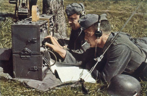 German army with field radio in operation
