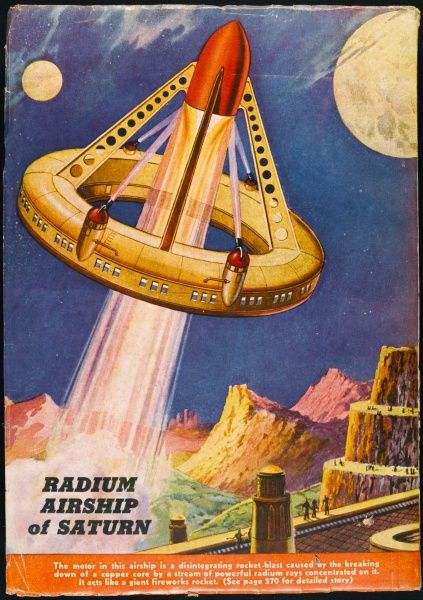 Other worlds will surely develop their own technologies for space travel : this radium-powered airship of Saturn uses the planet's natural resources