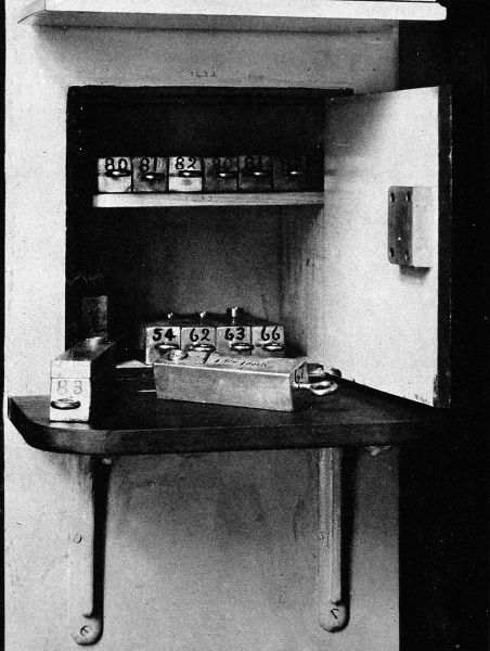 A safe at the Radium Institute, showing lead blocks holding radium needles. 4 inches of lead sat between where the radium was kept and the front of the safe
