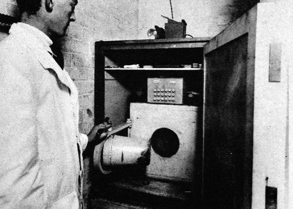 A radium safe in the Middlesex Hospital, showing a massive lead block, in which the radium was stored. The safe weighed about a ton and was fitted with a swing doors