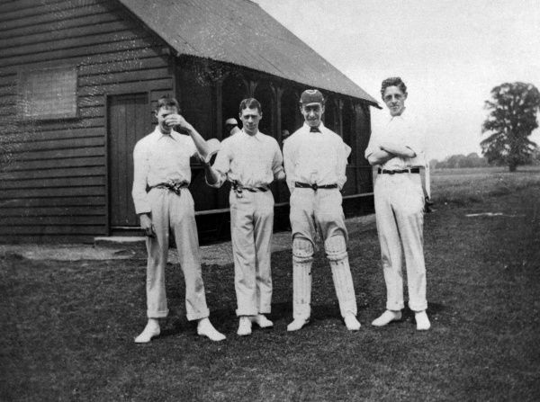 Four of the members of Radley College cricket team, Abingdon, Oxfordshire, England. Date: 1895