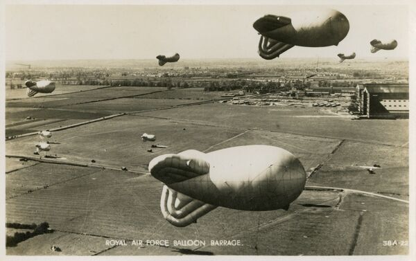 Royal Air Force Balloon Barrage at Cardington, Bedfordshire (note the distinctive airship hangars back right - still there today)