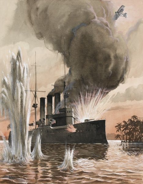 An RAF biplane bombs a german warship off the coast of Africa during World War One. Painting by Raymond Sheppard