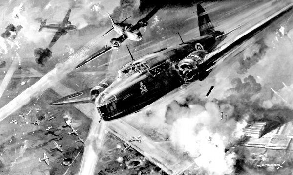 Illustration showing Royal Air Force 'Wellington' bombers attacking the German airfield at Stavanger, Norway, during April 1940