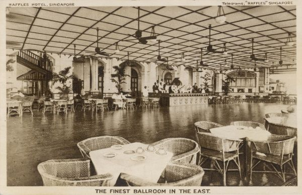 The ballroom of the famous Raffles Hotel, Singapore, 'the finest ballroom in the East&#39
