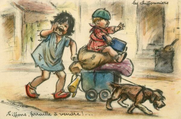 "'The Rag Sellers'. ""Rags, old iron for sale!"". A scruffy street urchin wheels a pram jam-packed with rags and old iron - her baby sibling atop the pile - through the streets of Paris, led by their pet dog"