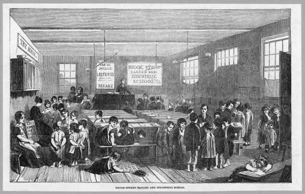 Children being taught at the Brook-Street ragged and industrial school