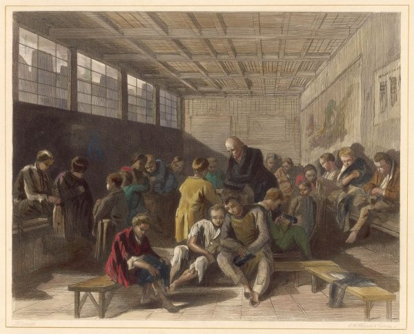 Scene in a ragged school, probably in London, where homeless boys are cared for and taught a useful trade