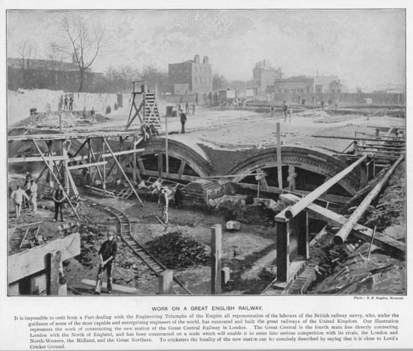 Work on the Great Central Railway, near Lord's cricket ground, north London Date: 1897