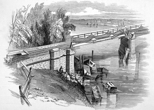 Railway accident at Chester showing a dilapidated span of the Dee Bridge. It was thought that the weight of the train caused it to strike a girder at which point the bridge gave way and the train plummeted through