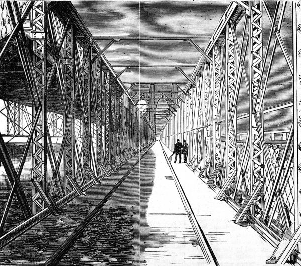 Engraving showing the railway line across the then-newly built Brooklyn Bridge, New York, 1883