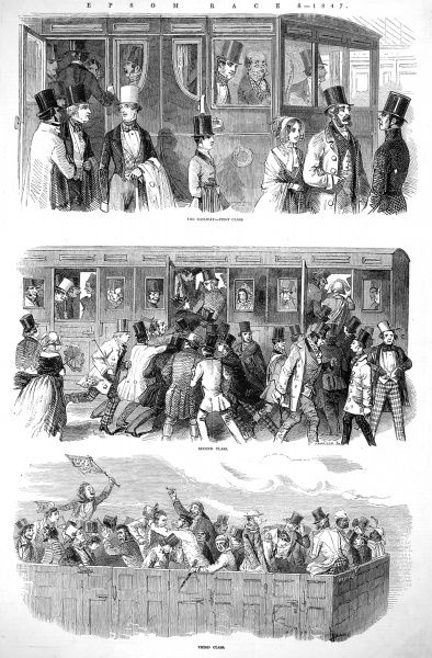 Illustration showing the three classes of carriage transporting people to the Epsom Races in 1847