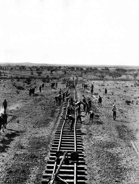 South African railway staff laying track across scrub land to join up with the Windhoek line (now in Namibia, but then in German South West Africa) to Kaalfontein and Upington (South Africa), during the First World War