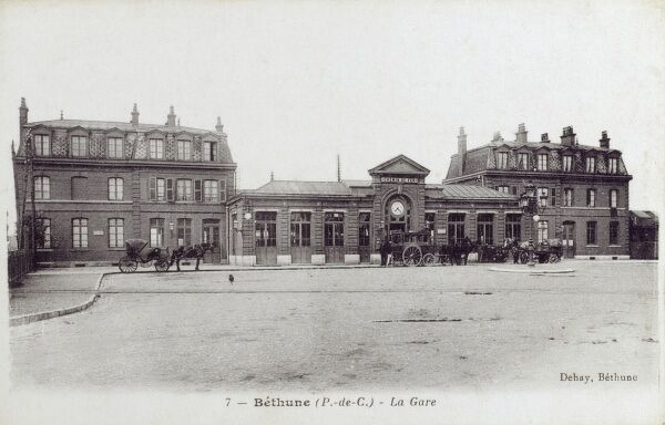 Railway Station at Bethune, France Date: circa 1910s