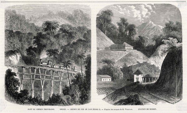 A temporary rail bridge and the Station of Rodeio on the Railway of Pedro II in Brazil