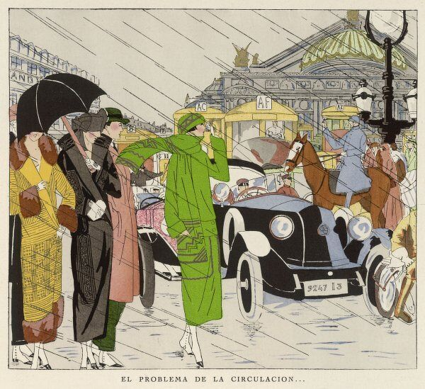 A shower in the Avenue de l'Opera, Paris : a mounted agent directs traffic while ladies in creations by Drecoll, Martial & Armand and Drecoll again wait for a taxi