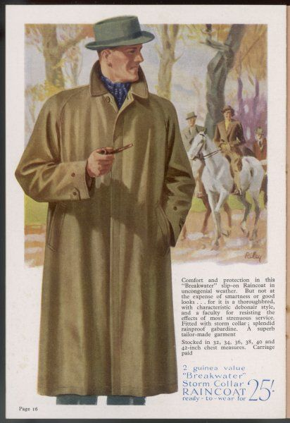 Loose fitting,'rain-proof', raglan raincoat in waterproof gabardine with diagonal side pockets, storm collar & fly front fastening
