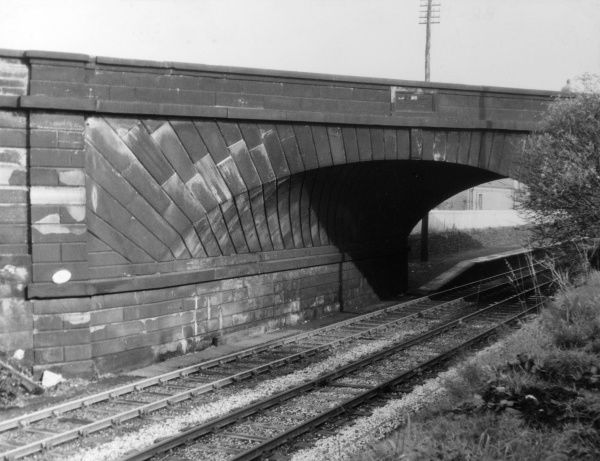 Rainhall Bridge, one of three original skew bridges on the Liverpool and Manchester railway, Merseyside, England. Date: completed 1828