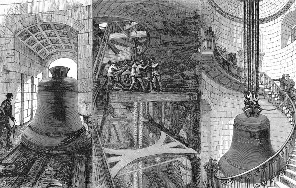 Engraving showing three stages in the raising of a new Great Bell into the tower of St
