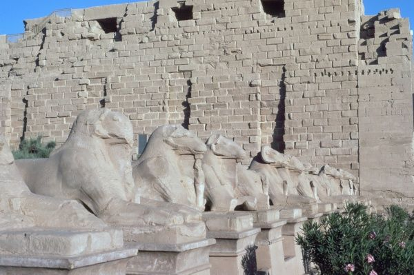 At the Temple of Amun at Karnak the entrance is flanked by rows of ram-headed sphinxes