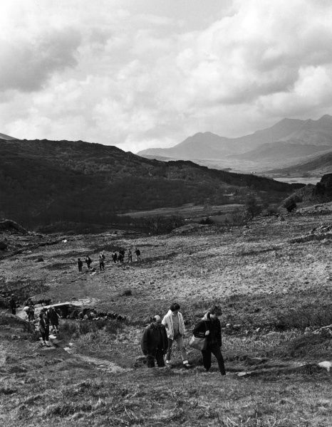 Ramblers in the mountains, near Capel Curig, Caernarvonshire, Wales