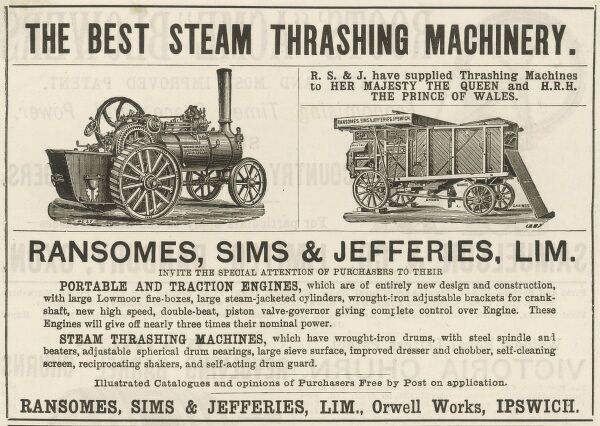 An advert for Ransomes, Sims and Jefferies Ltd(Orwell Works, Ipswich) portable traction engines and steam powered thrashing machines
