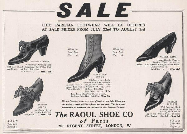 Chic Parisian footwear offered for sale in Regent St featuring a brogue shoe, fancy top boot, seaside shoe, French shoes and court shoe