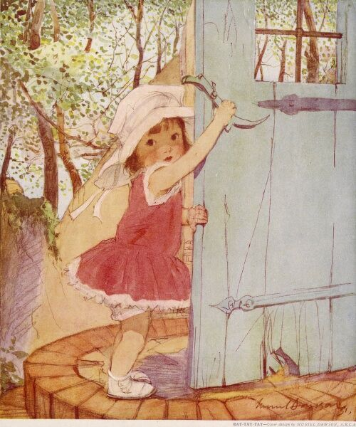A sweet and engaging little girl in a red dress and wide-brimmed sun hat, opens a door using an old-fashioned latch