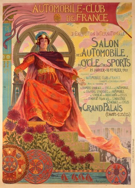 Poster for the 3rd 'Exposition Internationale' of the 'Automobile Club de France' - held at the Grand Palais on the Champs d'Elysees, Paris between 21st January and 10th February 1901