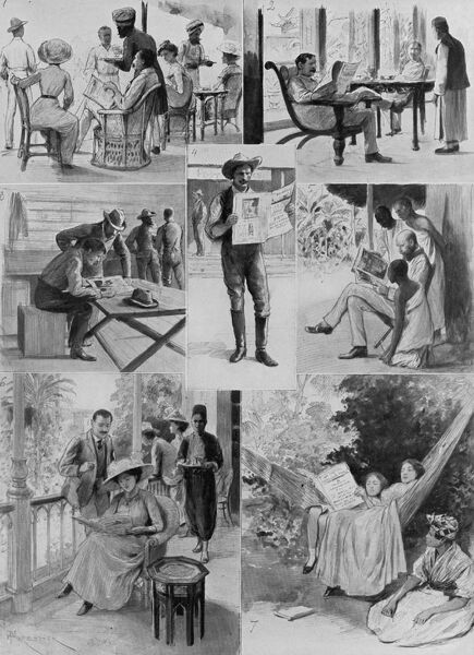 Series of images by A. Forestier showing readers of the Illustrated London News around the world, a reflection of the paper's immense popularity both home and abroad, particularly within the British Empire