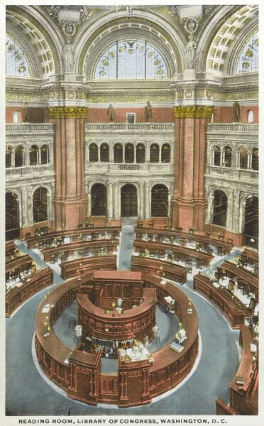 Reading Room of the Library of Congress, Washington D.C., USA Date: circa 1910s