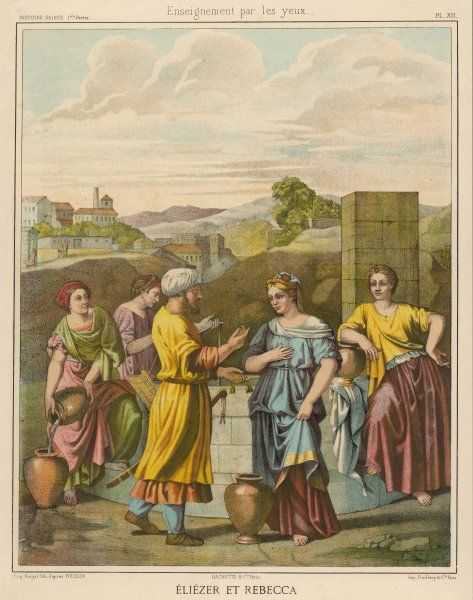 Eliezer, Abraham's servant, sees Rebekah at the well and picks her out as a suitable wife for his master's son Isaac