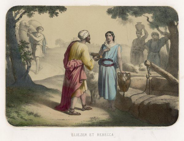 she is sought out by Abraham's servant Eliezer, to be a husband for his son Isaac