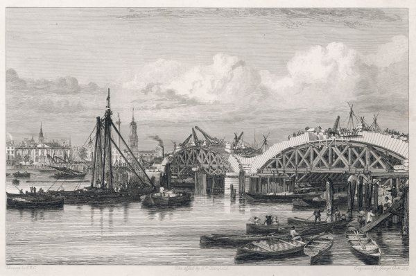 The rebuilding of London Bridge, with numerous boats in the foreground and the Monument visible in the distance