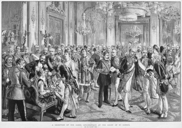 A reception of the corps diplomatique at the royal court of St James' Palace