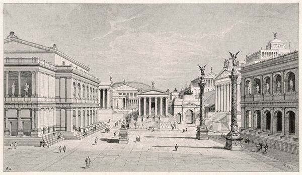 A pictorial reconstruction of the northern and eastern sides of the Roman Forum in Rome, Italy